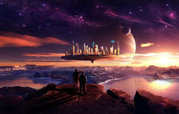 Картинка космос, звезды, озеро, будущее, люди, скалы, горизонт, future, space, lake, rocks, stars, people, beautiful landscape, …