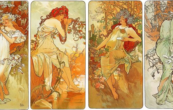 Картинка зима, осень, лето, цветы, времена года, весна, композиция, женские образы, Альфонс Муха, Alfons Maria Mucha