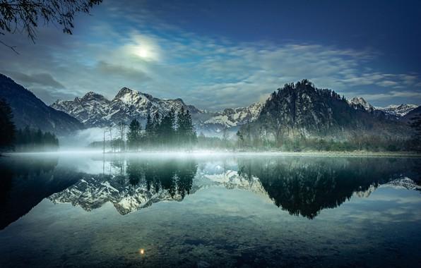 Картинка деревья, горы, озеро, отражение, утро, Австрия, Альпы, Austria, Alps, Озеро Альмзе, Lake Alm, Almsee Lake