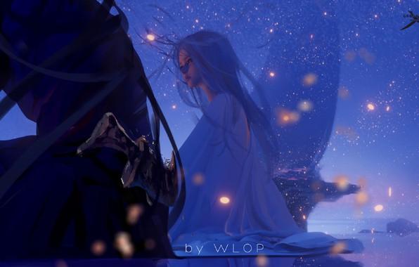 Картинка ночь, огоньки, эльфийка, princess, Ghost Blade, Призрачный Клинок, by Wlop