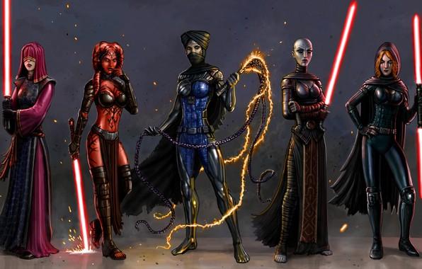 Картинка девушка, фантастика, star wars, lightsaber, jedi, dark side, sith
