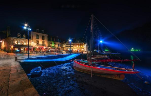 Картинка огни, Франция, пристань, яхты, вечер, Бретань, Сен-Густан