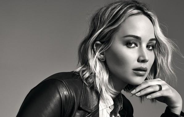 Картинка взгляд, поза, фон, портрет, макияж, актриса, куртка, прическа, блондинка, черно-белое, красотка, фотосессия, Jennifer Lawrence, Дженнифер …