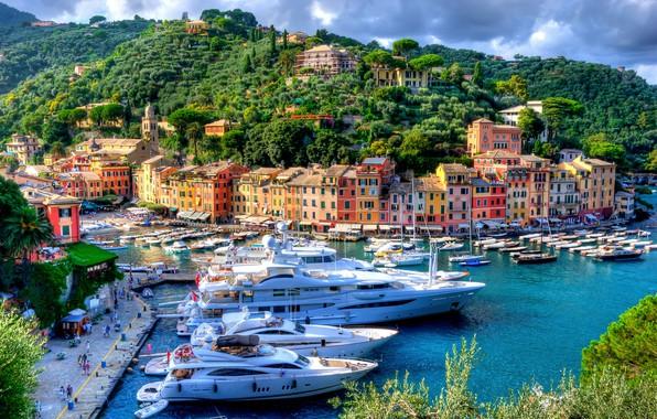 Картинка здания, дома, яхты, порт, Италия, набережная, Italy, гавань, Портофино, Portofino, Лигурия, Liguria, Marina di Portofino