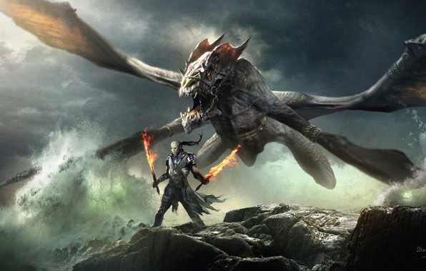 Картинка fire, fantasy, horns, armor, sea, Warrior, wings, rocks, dragon, weapons, digital art, artwork, swords, fantasy …