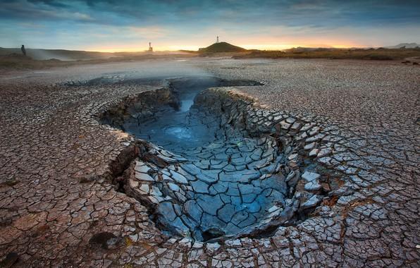 Картинка desert, crater, cracked earth