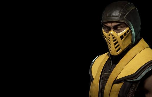 Картинка желтый, фон, темный, Скорпион, ниндзя, yellow, Смертельная Битва, Mortal Kombat, Scorpion, ninja, dark fon, Hanzo …