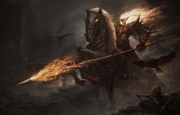 Картинка смерть, пламя, череп, дьявол, ужас, всадник Апокалипсиса, нежить, by Leo
