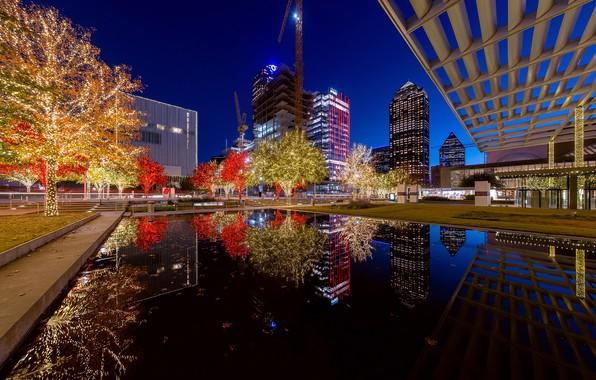 Картинка вода, деревья, ночь, огни, отражение, новый год, дома, рождество, сооружение, США, гирлянды, высотки, Dallas, Техас, …