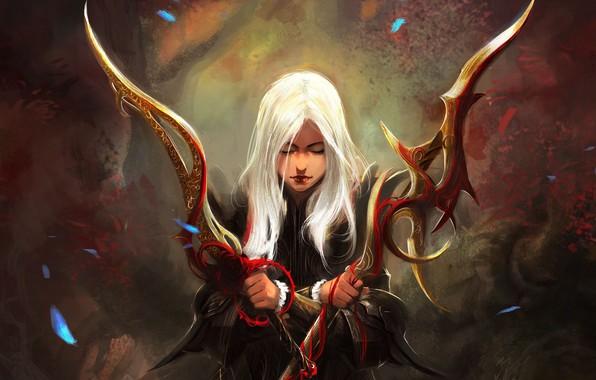 Картинка girl, fantasy, weapon, Warrior, blonde, digital art, artwork, concept art, swords, fantasy art, fantasy girl, …