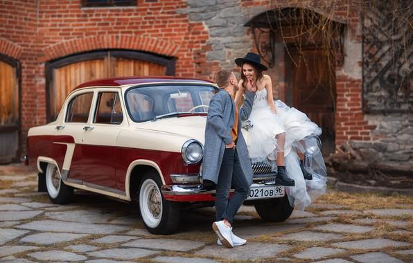 Картинка машина, авто, девушка, ретро, парень, влюблённые, Волга, ГАЗ-21, Анастасия Бармина