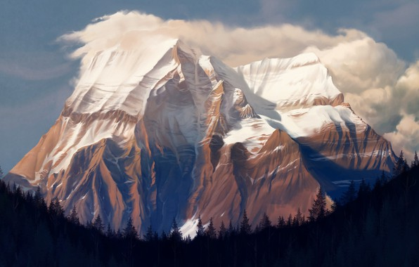 Картинка Гора, Лес, Скала, Пейзаж, Rock, Арт, Art, Landscape, Mountain, Forest, Mt. Robson, Environments, Damien Mammoliti, ...