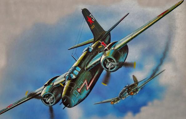Картинка bomber, war, art, airplane, painting, aviation, ww2, he-111, b-25