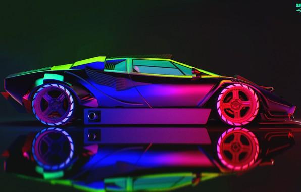 Картинка Авто, Lamborghini, Неон, Машина, Car, Art, Neon, Countach, Рендеринг, Concept Art, Lamborghini Countach, Вид сбоку, …