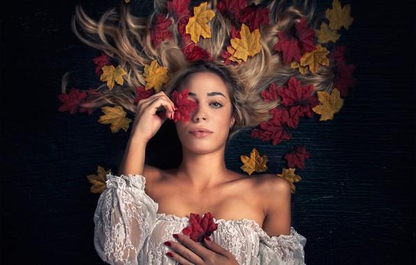 Картинка осень, листья, девушка, фон, настроение, волосы