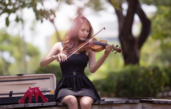 Картинка music, girl, dress, photography, violin, Musician, playing, high heels, sitting, red shoes, portrait, musical instrument, …