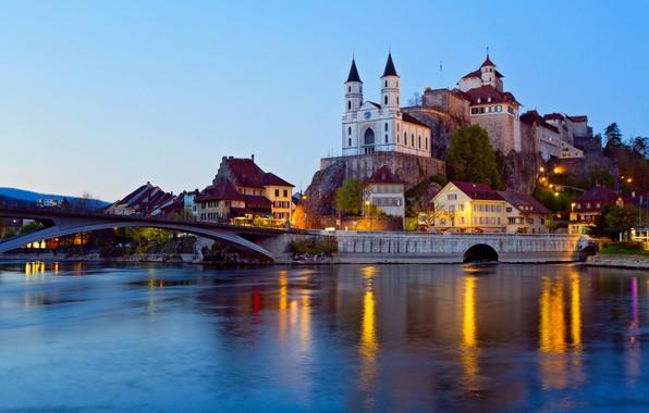 Картинка мост, река, замок, вечер, Швейцария, подсветка, коммуна, Арбург, Аар
