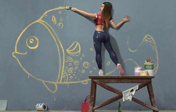 Картинка девушка, стена, рисунок, рыба, кисть, рисует