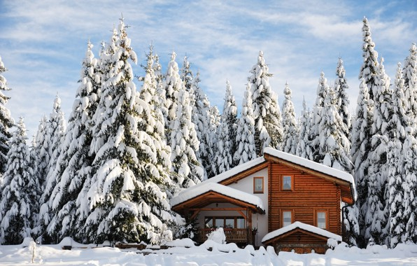Картинка зима, снег, деревья, пейзаж, природа, зимний, елки, домик, house, landscape, nature, beautiful, winter, snow, cottage, …