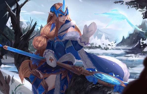 Картинка зима, снег, лёд, мантия, мех, посох, рыжая, диадема, art, варежки, League of Legends, Лига Легенд, …