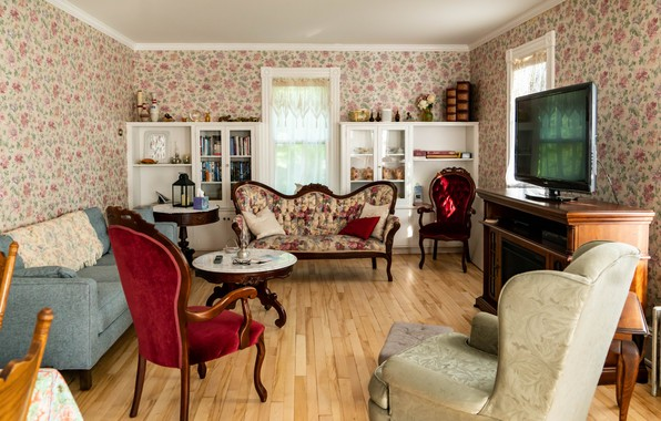 Картинка комната, диван, мебель, окна, интерьер, телевизор, кресла, канапе, викторианский стиль