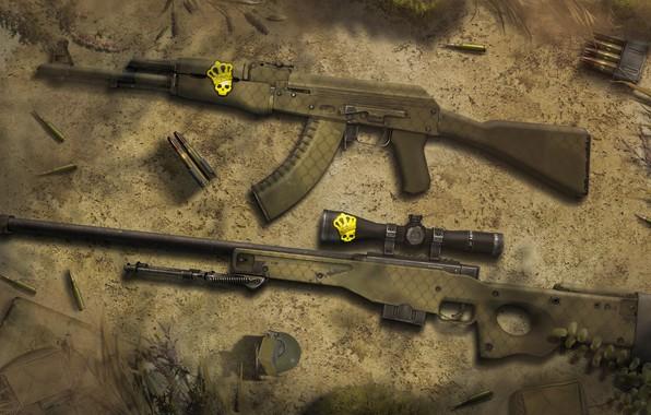 Картинка ART, AK-47, Weapon, CSGO, Wallpaeprs, AWP, Safari Mesh