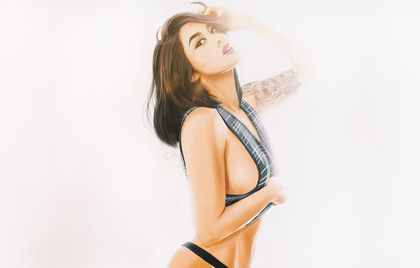 Картинка Девушка, Минимализм, Взгляд, Белый, Азиатка, Girl, Фон, Тату, Арт, Beautiful, Sexy, Art, Asian, White, Секси, ...