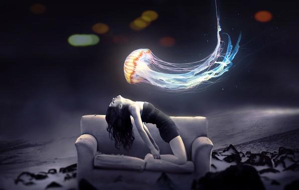 Картинка природа, диван, медуза, боке, девушка art
