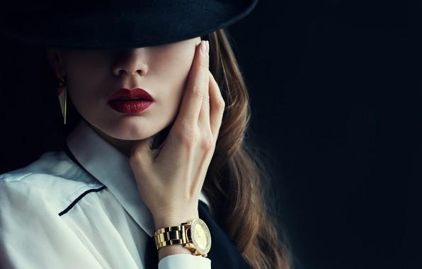 Картинка hat, woman, shadows, watch, make up