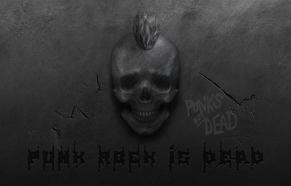 Картинка трещины, стена, череп, ирокез, punk rock, панк-рок, панк-рок мертв, punk rock is dead, punks not …