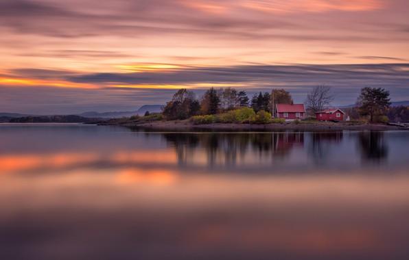 Картинка деревья, закат, озеро, Норвегия, домики