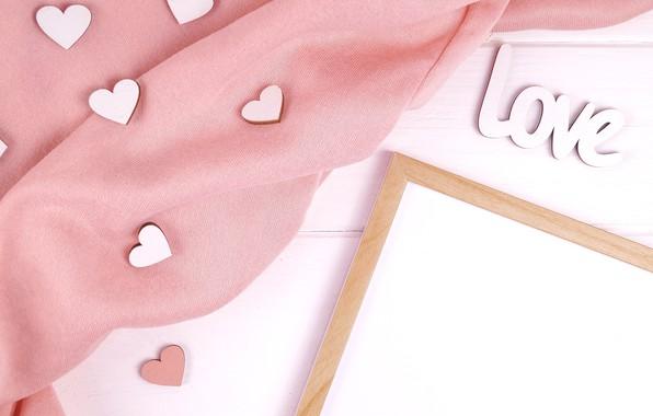 Картинка розовый, рамка, шелк, сердечки, ткань, heart, pink, silk, cloth, frame