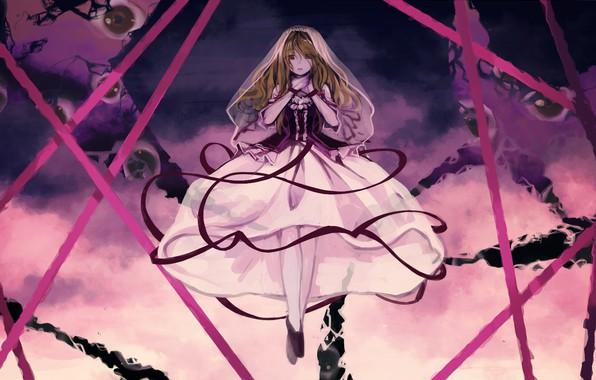 Картинка тьма, ведьма, безумие, art, Touhou Project, красные ленты, черная магия, Проект Восток, Yakumo Yukari, Geppewi