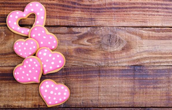 Картинка печенье, сердечки, wood