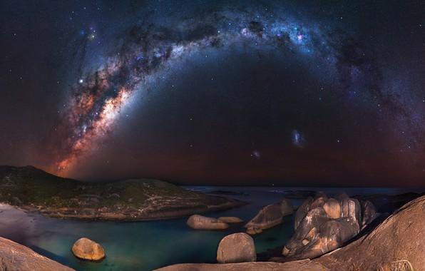 Картинка море, звезды, ночь, камни, берег, Млечный путь, звездное небо
