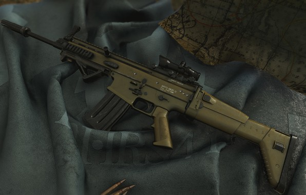 Картинка оружие, gun, weapon, render, ренденринг, штурмовая винтовка, assault Rifle, 5.56, SCAR, SCAR-L, Скар