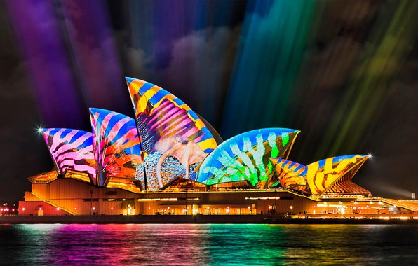 Картинка Австралия, Сидней, световое шоу, оперный театр