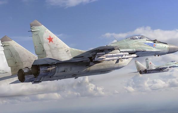 Картинка МиГ-29, четвёртого поколения, Fulcrum, ОКБ МиГ, советский многоцелевой истребитель