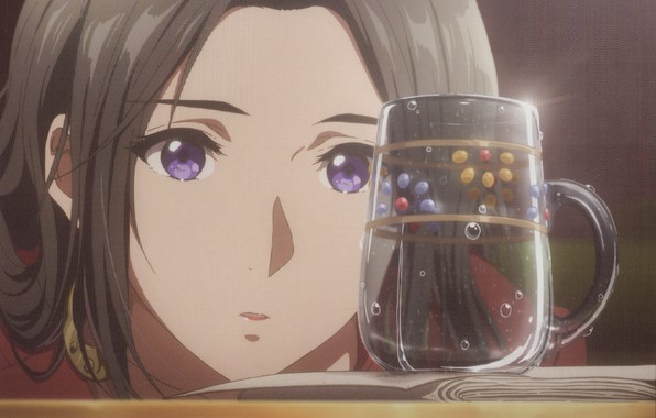 Картинка пузырьки, лицо, кружка на столе, листы бумаги, Violet Evergarden, Cattleya Baudelaire, by Akiko Takase