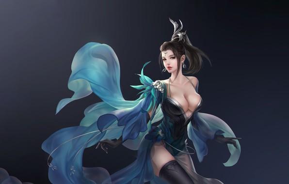 Картинка Girl, Fantasy, Beautiful, Art, Asian, Style, Illustration, Asia, Characters, Dress, 3Q STUDIO