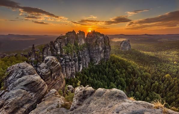 Картинка лес, небо, закат, скалы, Ralf Kaiser