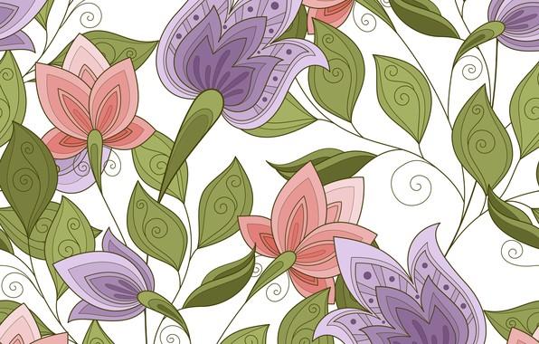 Картинка цветы, текстура, белый фон, бутоны, листики, Pattern, Floral
