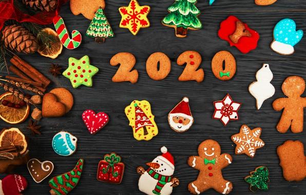 Картинка печенье, Новый год, композиция, пряники, 2020