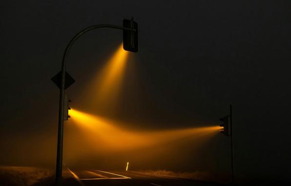 Картинка Night, Road, Ray, Traffic Lights