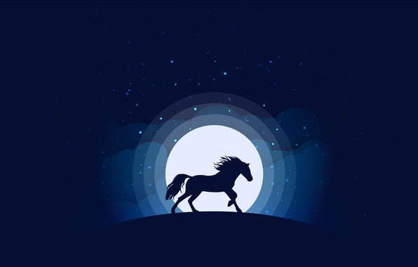 Картинка moon, minimalism, clouds, stars, animal, blue background, digital art, artwork, silhouette, Horse, simple background