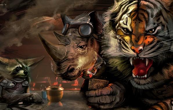 Картинка Игра, Тигр, Животные, Арт, Енот, Conspiracy, Носорог, Characters, Animals, Рык, Csaba Kémeri, by Csaba Kémeri
