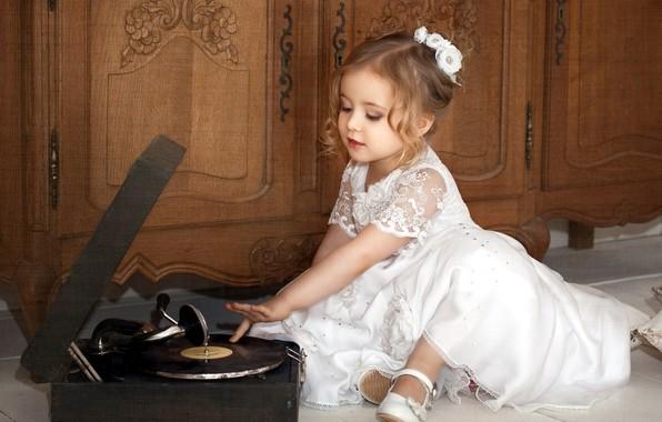 Картинка ребенок, платье, девочка, пластинка