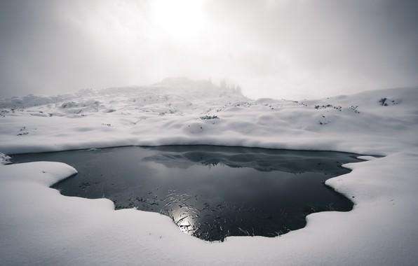 Картинка зима, туман, лёд