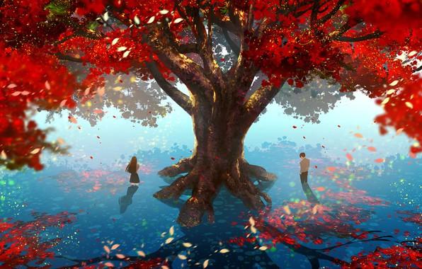 Картинка тень, свидание, солнечный день, в воде, art, школьники, красные листья, большое дерево, парень с девушкой, …