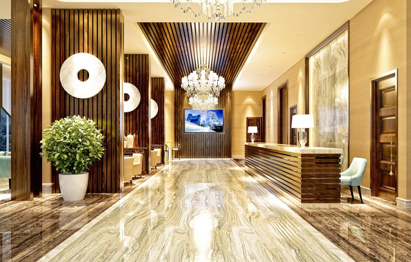 Картинка цветы, дизайн, мебель, интерьер, картина, люстра, отель, холл, декор